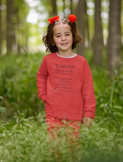 My Little Sister Toddler Sweatshirt red