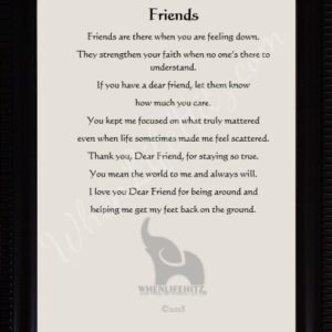 5x7 Friend Ridged Black Frame