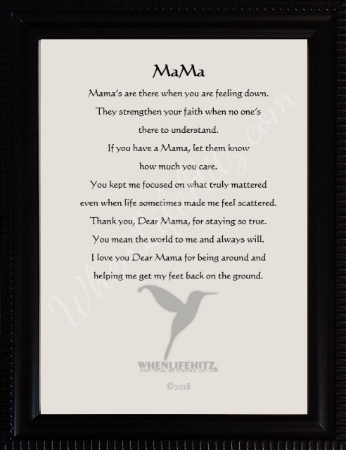 5x7 Mother Ridged Black Frame-personalized