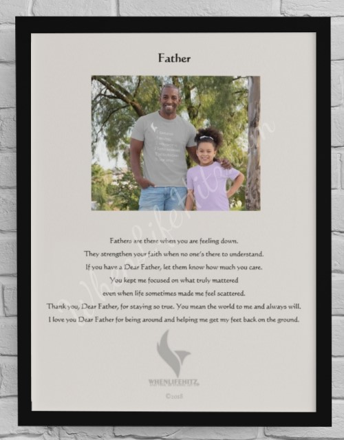 8x10 Father Black Frame example with pic
